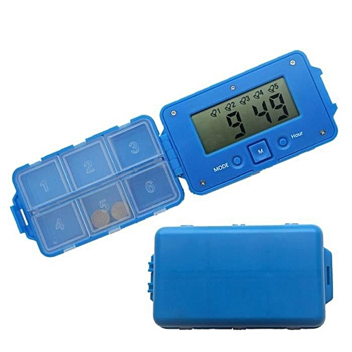 Intelligent Electronic 6 Grid Medicine Box -Blue