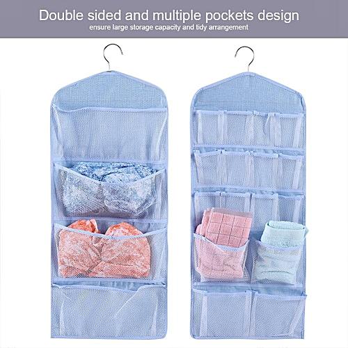 Dual-Sided Multi-Pocket Hanging Closet Organizer Bra Underwear Stocking Sock Storage Bag (Blue)