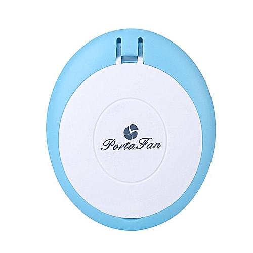 Women Mini Fan Makeup Mirror USB Rechargeable Cooling Fan Eyelash Blower Blue