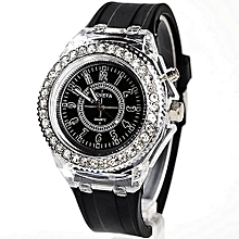 Geneva Quartz Wrist Watch With Waterproof Sport LED Backlight - Black 1ea7075d40