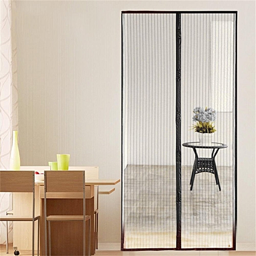 Magnetic Fastening Hands Free Insect Screen Magic Curtain Door Mesh Black Gold