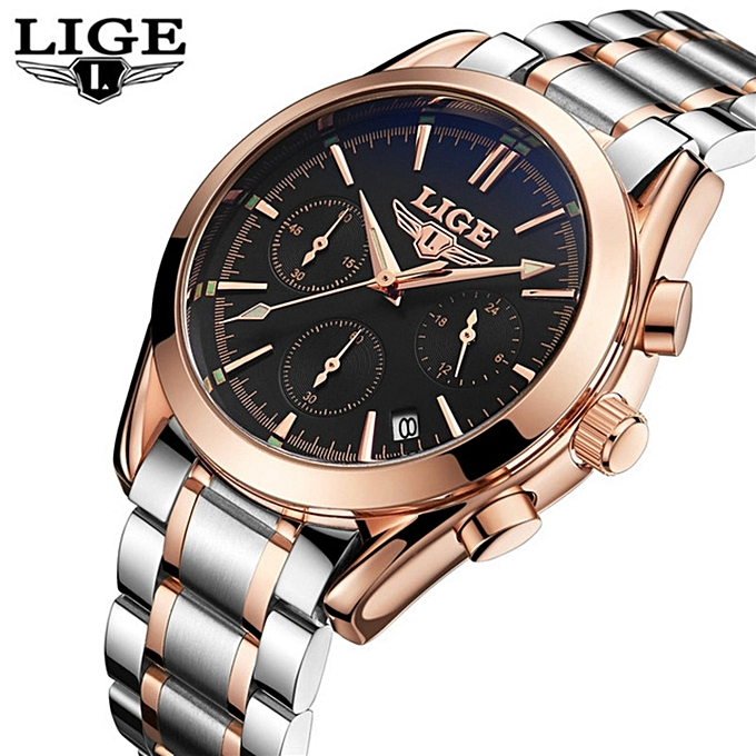 Lige lige mens watches top brand luxury full steel clock sport quartz watch men casual business for Lige watches