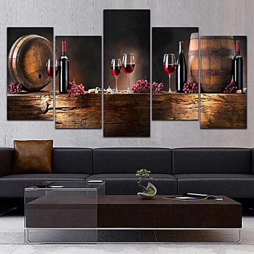 5Pcs Red Wine Grapes Barrel Poster Canvas Print Painting Wall Art Home Decor