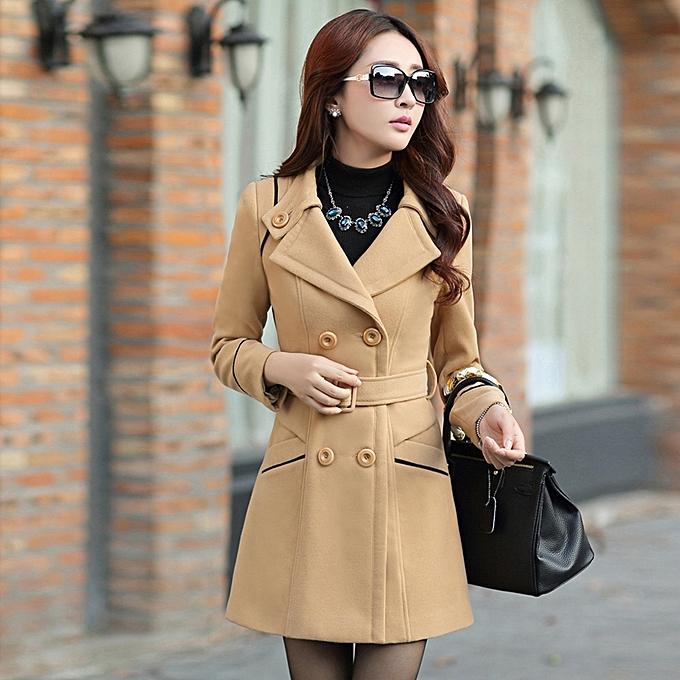 21400125e466 Korean Women Double Breasted Wool Coat Slim Long Winter Jacket Overcoat  Outwear Khaki