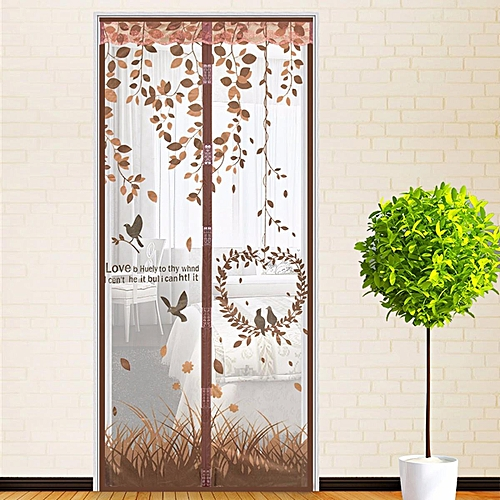 Magic Mesh Magnetic Screen Door Mosquito Net Curtain Protect From Insects Coffee