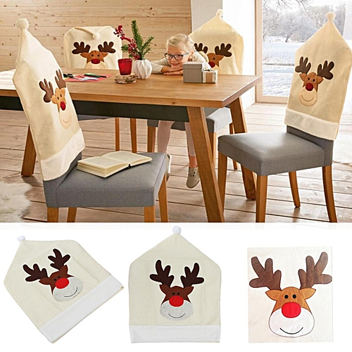 Christmas Santa Hat Chair Cover Ornaments Holiday Party Home Decor Xmas
