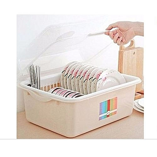 Plate Rack Dish Drainer With Cover - Large