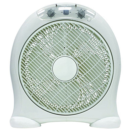 """12""""Box Fan BF-1657-white, With 80 Degree Oscillation"""