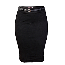 b7c0dcd24c9 Bodycon Midi Skirt With Belt - Black