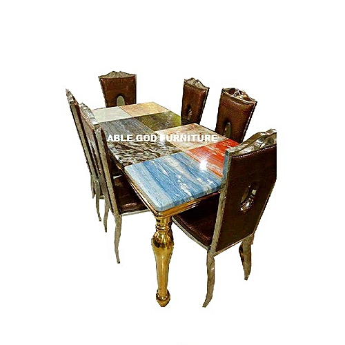 Classic Marble Dinning With Golden Legs