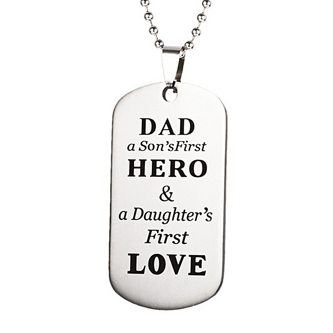 DAD HERO LOVE Stainless Steel Pendant Necklaces Name ID Tag Birthday Gift Necklace For
