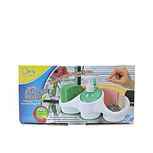 Dish Soap Dispenser + Sponge Holder