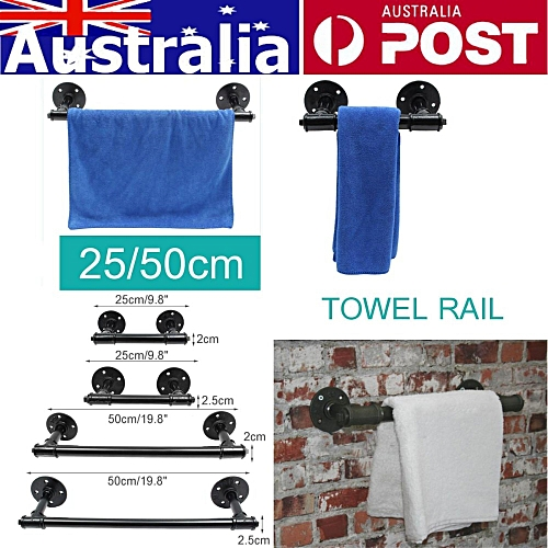 2.5cm/50cm Industrial Steampunk Bath Towel Rail Rack Holder Water Pipe Wall Mounted