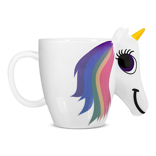 3pcs Magic Unicorn Pattern Ceramic Heat Sensitive Mug Rainbow Color Changing Coffee Cup 3pcs / Set-White