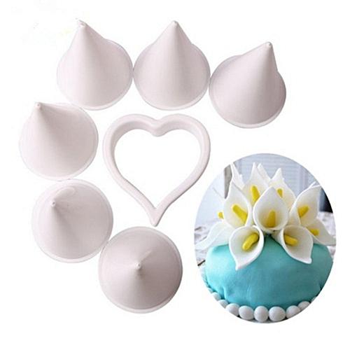 7Pcs Horseshoe Lotus Cake Kit Diy Cake Mould Chocolate Candy Mold White