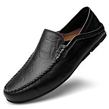 fdacf97680edf9 Big Size 37-47 Summer Genuine Leather Shoes Men Casual Moccasins-black