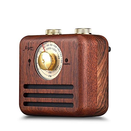 Loskii Wood Bluetooth Subwoofer Handmade Walnut Wood Portable Bluetooth Speaker FM/AM Loudspeaker