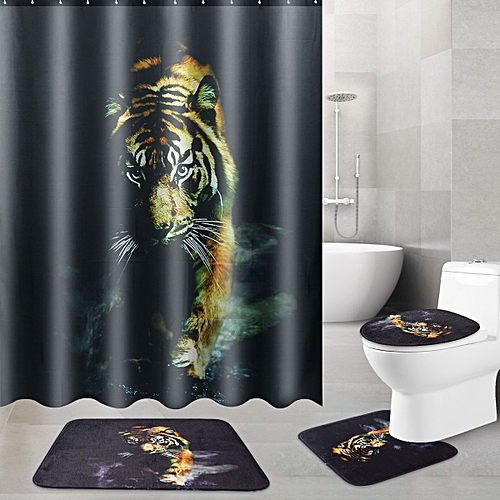 Bathroom Bath Mat Animal Tiger +Waterproof 180x180cm Tiger Pattern Shower Curtain