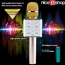 TUXUN Q7 Portable Wireless Bluetooth Speaker Microphone Mic With Handheld Karaoke KTV (Gold)