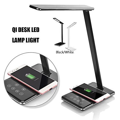 LED Desk Lamp Table Folding Light Office & QI Wireless Desktop Charger USB Black US Plug
