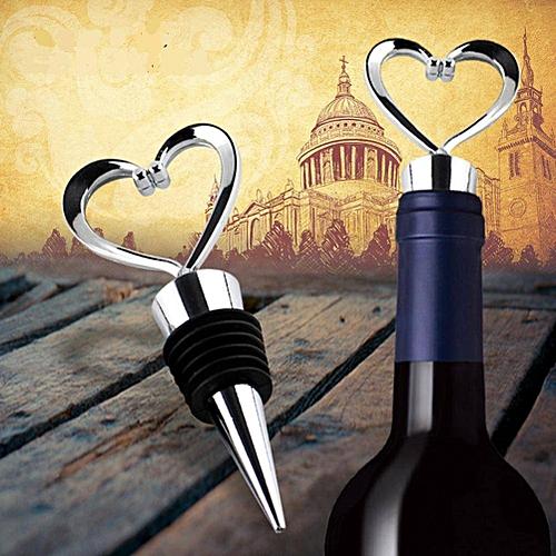 Elegant Heart Shaped Red Wine Champagne Wine Bottle Stopper Valentines Wedding Gifts