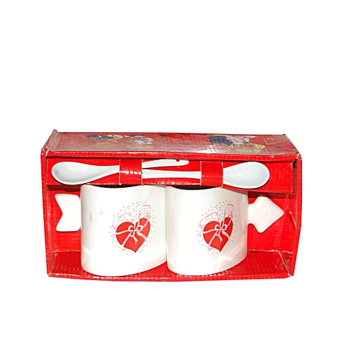 Love Print Cup & Spoon- White