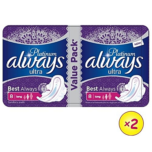 Always Platinum Ultra Sanitary Pad W/flexible Wings -16 Pads (Pack Of 2)