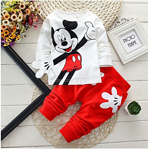 Baby Boys Cartoon Leisure Long Sleeved T-shirts + Pants Newborn Kids Bebes Suits