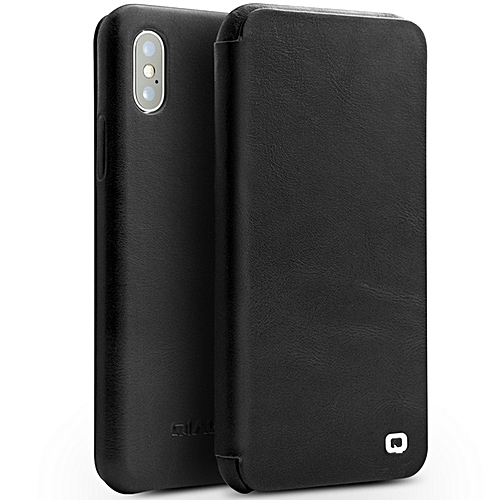 uk availability a57b4 d3cf4 IPhone X Case, QIALINO Slim Folio Genuine Leather IPhone X Bumper (with  Magnetic Closure And Smart Sleep/ Wake Up Flip Cover) For Apple IPhone X,  ...