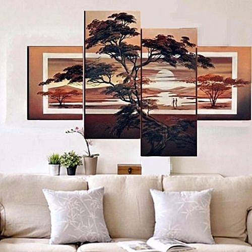 4PCS Modern Pine Sunset Painting Wall Decor Canvas NO Frame