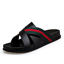 24cb801eff4b9 Fashion Mens Summer Open Toe Casual Beach Sandals 3 Strap Slipper Black