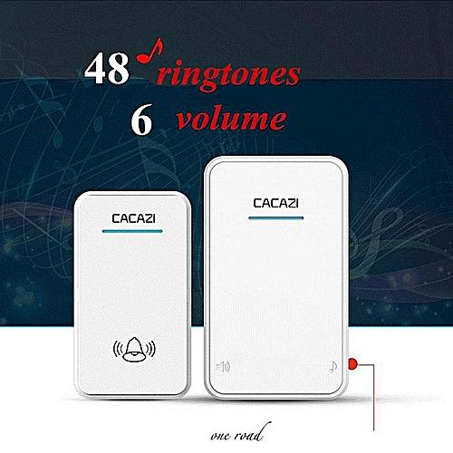 Cacazi Long Range Wireless Doorbell Dc Battery Operated 300M Remote Door Bell 48 Rings 6 Volume