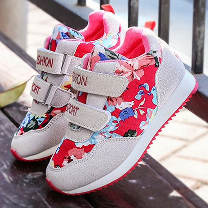 37eb4e7370ba6 Tectores Children Kids Baby Boys Girls Letter Flower Print Skate Shoes  Sneakers Shoes