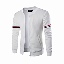 bced58e10d5 Mens Hoody Jacket Coat Two Color Blocked Lightweight Fleece Jacket-white