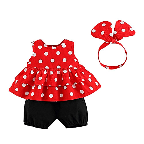 Toddler Kids Baby Girls Clothing Set Dot Printed Tops Shorts Headband Outfit Suit Musiccool