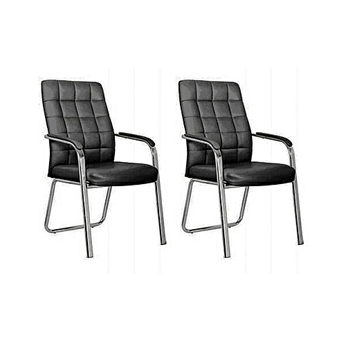 Quilted Leather Conference Visitor Office Chair Set - 2pcs
