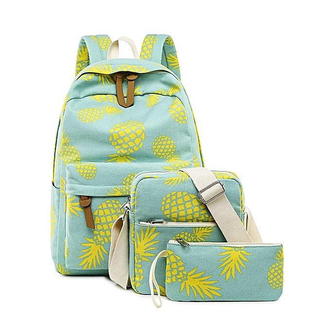 4bfd8be44a2f Fashion Canvas Women Backpack Set Fruit Pineapple Printing Female School  Bagpack With Lunch Box Bags Girl Daily Laptop Bookbag