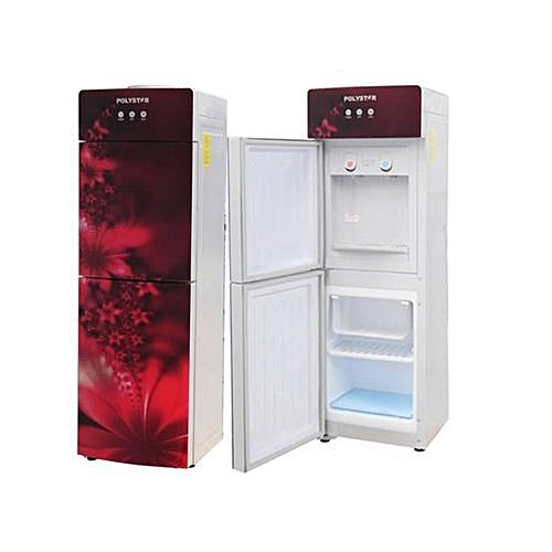 Polystar Water Dispenser, Glass Panel Red Colour With Freezer And Fridge PV-R6JX-5R