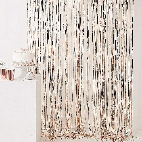 Rose Gold Foil Fringe Curtain 245cm Party Wedding Backdrop Hen Night Decoration