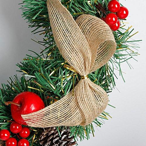 DIY Merry Christmas Wreath 35cm Garland Window Door Decorations Bowknot Ornament Wannag