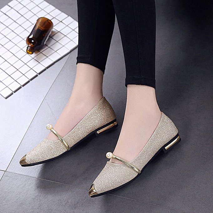 79bd6c630816 Fashion Women Pointed Toe Ladise Shoes Casual Low Heel Flat Shoes ...