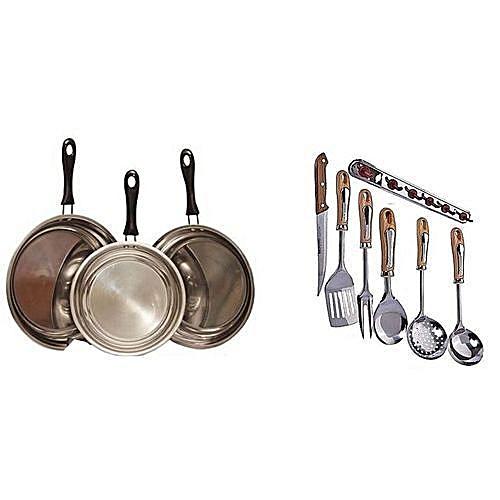 3 Pieces Fry Pan Set + Kitchen Spoon Set