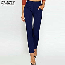 879eb99ead48a ZANZEA Womens High Waist Casual Slim Stretchy Long Pants Office Ladies  Trousers