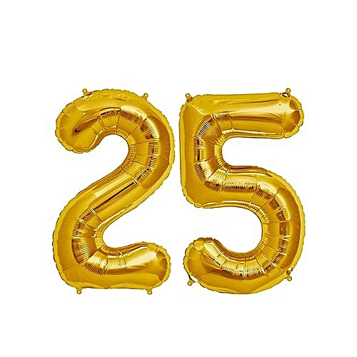 Number 25 Birthday Ballons - Gold