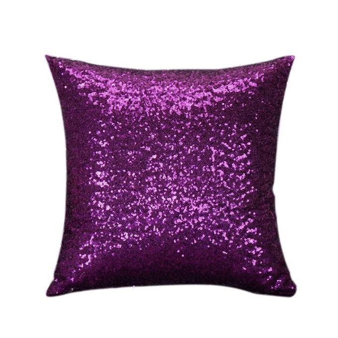 Bluelans Sequins Pillow Case Pure Color Sofa Throw Cushion Cover Home Decor Purple Buy online ...
