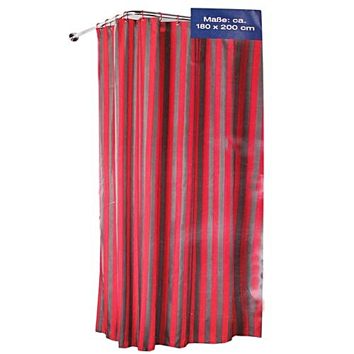 Stripped Shower Curtain (180 By 200cm) - Red