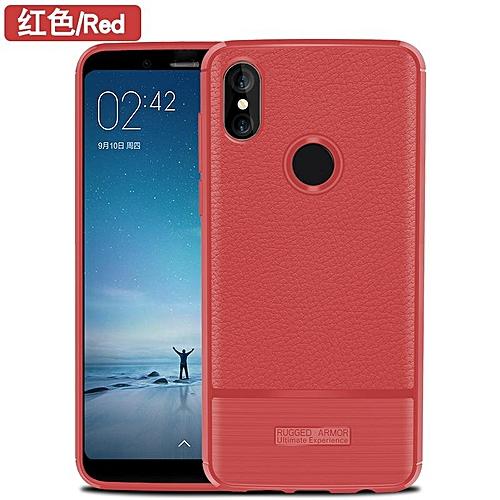 For Xiaomi Redmi Note 5 Case Luxury Litchi Pattern Soft Silicone Tpu Case For Xiaomi Redmi Note 5 Back Cover Handphone Casing 203653 Red