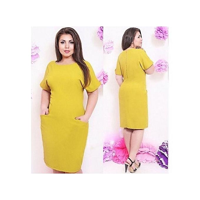 Fashion Elegant Solid Dress With Cloth Sashes Women Large Size Dress