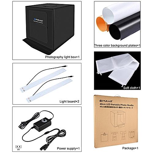 PULUZ 40*40cm Foldable LED Light Box Photo Studio Photography Tent Kit