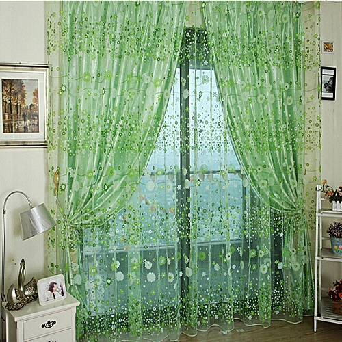Elegant Home Decoration Flower Sheer Curtain Tulle Window Treatment Voile Drape Valance 1 Panel Fabric-Green